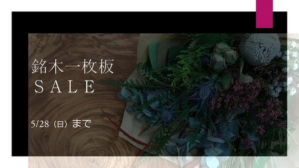 銘木一枚板のSALE~5/26(日)まで